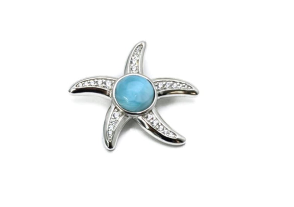 Larimar 8mm P.Cana Starfish With White Sapphire Accents