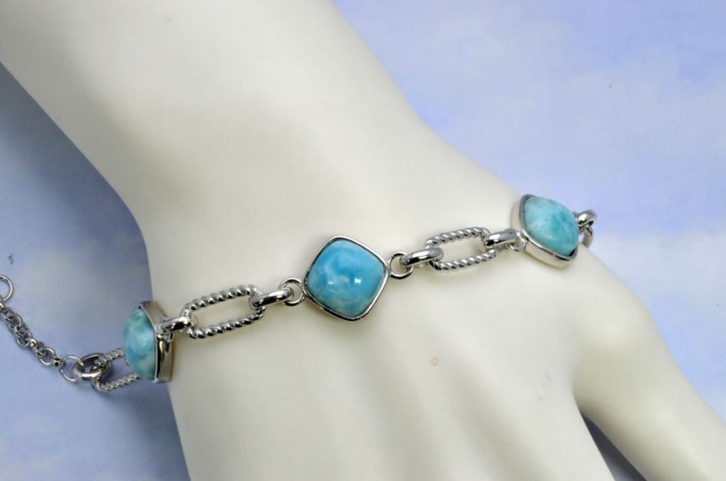 Larimar Three 12mm Cushion Cut Dominica Bracelet