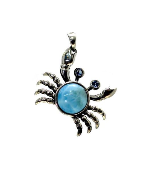 Larimar Crab Pendant 10mm with Aqua Eyes