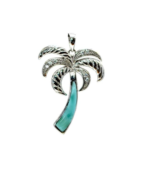 Larimar 18X4 Palm Tree Pendant With white Sapphire Accents