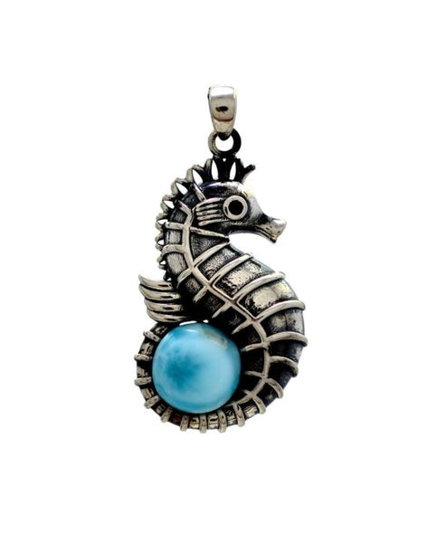 Larimar 10mm Seahorse Oxidized Sterling Silver