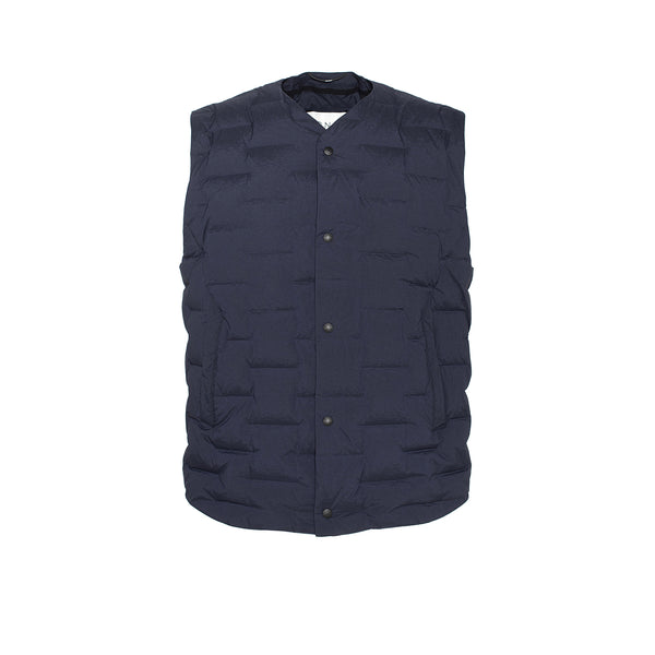 Skin-Nylon V-Neck Down Vest / Blue Navy