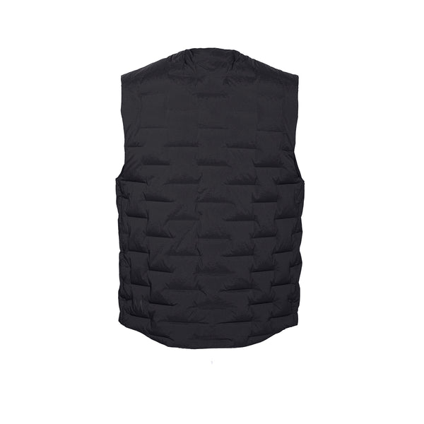Skin-Nylon V-Neck Down Vest / Black Raven