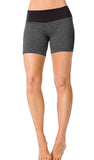 FLAT WAIST BLACK-BACK MID-THIGH SHORT