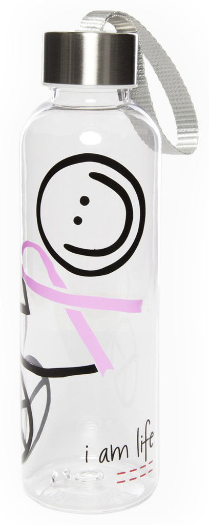 I AM LIFE CLEAR WATER BOTTLE - BREAST CANCER