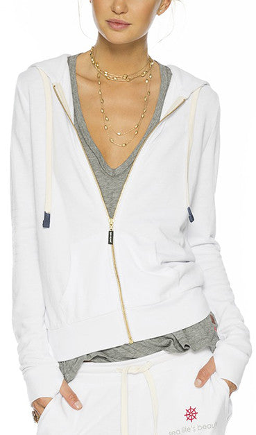 SEA LIFE'S BEAUTY WHITE LOVE2LOVE LIGHT ZIP HOODIE