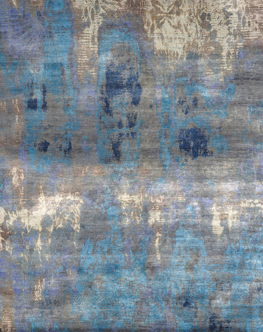 Contemporary Handknotted Silk Carpet