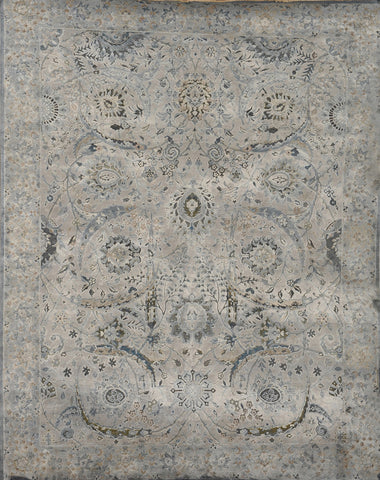 Handknotted Wool and Silk Carpet