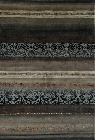 Modern Tibetan Wool Area Rug with horizontal gradations and patterns