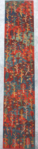 Natural-Dye Tibetan Wool Area Rug Jungle Tree Scene