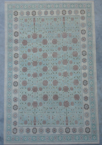 Blue Green Natural-Dye Tibetan Wool Area Rug