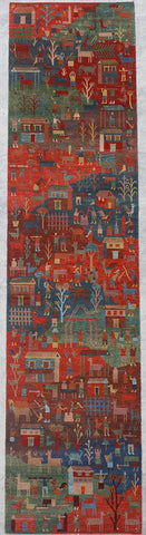 Natural-Dye Tibetan Wool Area Rug Village Animal Scene Runner