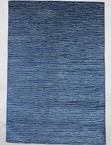 Blue Natural-Dye Tibetan Wool Area Rug