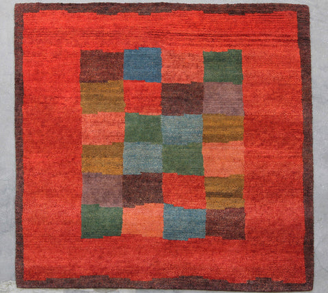 Square Natural-Dye Tibetan Wool Area Rug