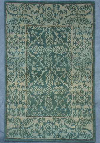 Natural-Dye Tibetan Wool Area Rug Blue Green