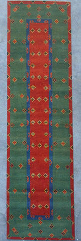 Natural-Dye Tibetan Wool Area Rug Green Red Runner