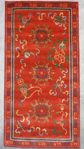 Natural-Dye Tibetan Wool Area Rug Red