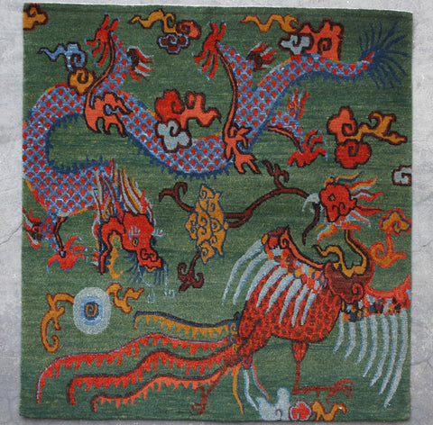 Natural-Dye Tibetan Wool Area Rug Square Dragon