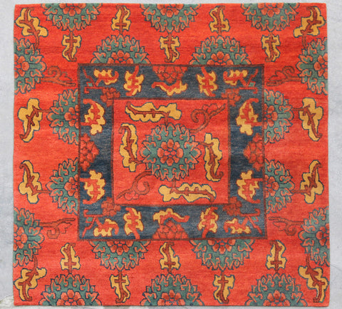 Natural-Dye Tibetan Wool Area Rug Square