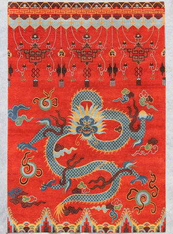 Natural-Dye Tibetan Wool Area Rug Dragon