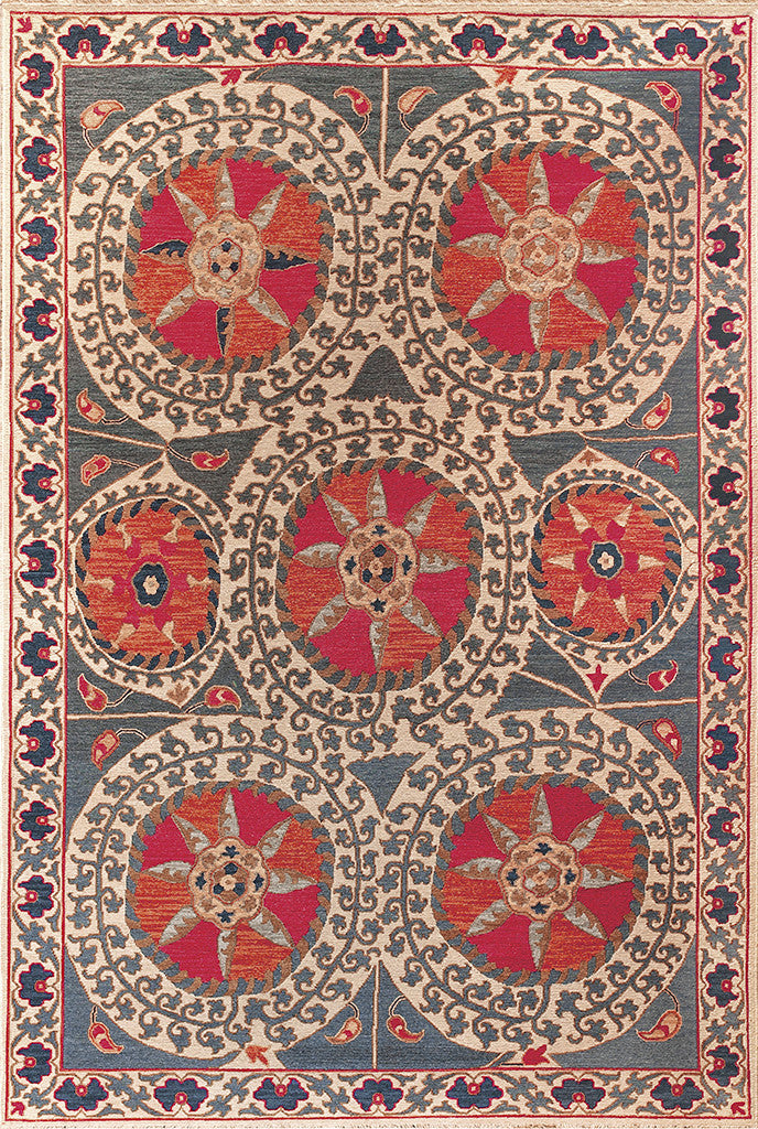 Sun Palace Soumak Rug- this handmade oriental rug with bright illustrated  suns
