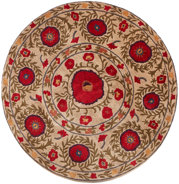 Field of Poppies beige round - a modern area rug with winding green stems and leaves dotted with flowers of varying sizes
