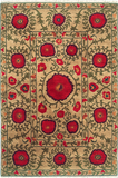 Field of Poppies beige - a modern area rug with winding green stems and leaves dotted with flowers of varying sizes
