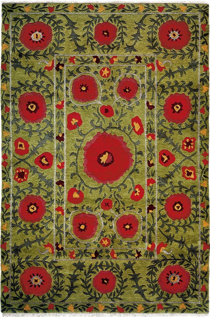 Field Of Poppies Green   A Contemporary Southwest Style Oriental Area Rug  With Colorful Flowers On