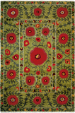 Field of Poppies green - a contemporary southwest style oriental area rug with colorful flowers on a green color field