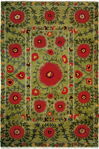 Field Of Poppies Carpet Green Tibetan Area Rug A Rug