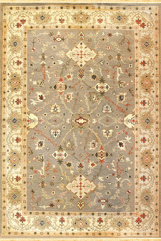 Kazak 10 mahal slate beige - subtle and elegant soumak tribal design area rug