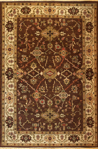 Kazak 11 mahal chocolate beige - subtle and ornate oriental carpet woven in the soumak style