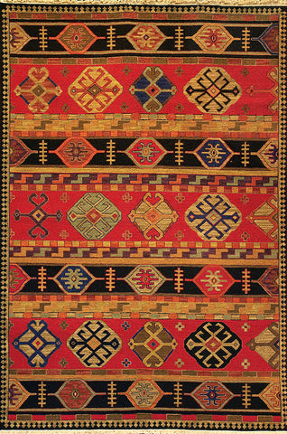 Kazak 2 shirvan red - oriental rug with similar repeating shapes varied with vibrant colors and subtle variation