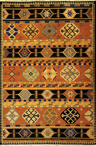Kazak 3 shirvan paprika copper - a traditional soumak weave carpet with primitive southwest design