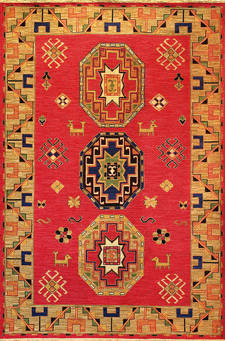Caucasus is a soumak flat weave area rug with a traditional kazak design with animal and pattern shapes