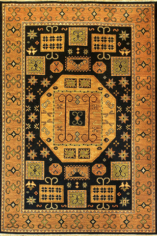 Kazak 6 - kazak black - soumak woven flat-weave area rug with vibrant colors and a strong defined graphic design