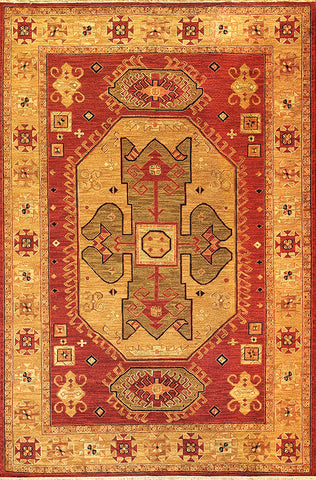 Kazak 8 - heriz brick olive - soumak carpet from our kazak collection. strong yet subtle tribal design with warm colors and an eastern feeling shapes