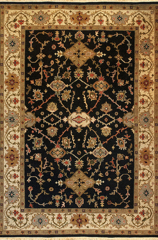 Kazak 9 mahal black beige - an ornately patterned traditional soumak area rug suitable for many settings