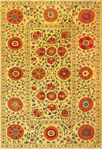 Suzani 2 uzbek suzani gold red - traditional carpet patterned with beautifully varying flower shapes in warm ochers and reds