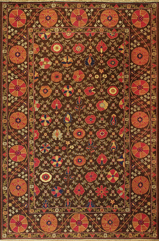 Suzani 4 - garden suzani chocolate red - traditional yet modern uzbek designed area rug with intricate and varying patterns
