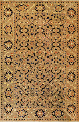 Suzani 5 trellis suzani mocha - traditional yet modern feeling oriental rug with subtle warm colors mixed with blue in a kaleidoscope of flowers.