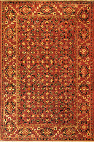 Suzani 6 trellis suzani brick - this ornate oriental carpet has pleasing repeating shapes and patterns composed of flowers and foliage in warm colors