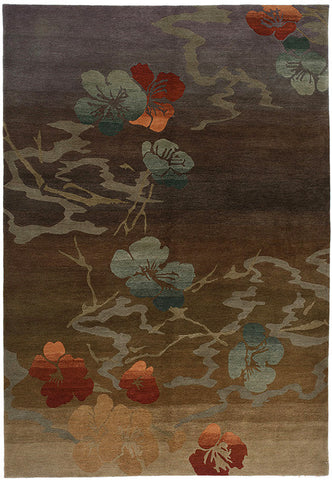 Kimono taupe - Both modern and traditional, this Japanese woodblock inspired design features flowers and stems in a subtle mist