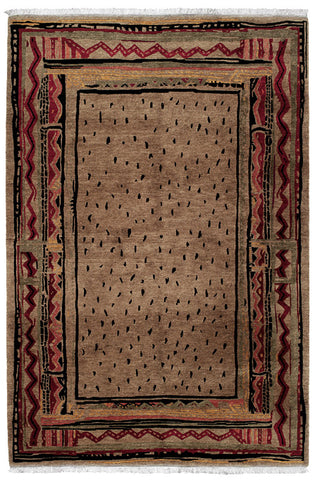 Angola mocha - Tibetan handmade area rug with dots and lines, both rustic and contemporary
