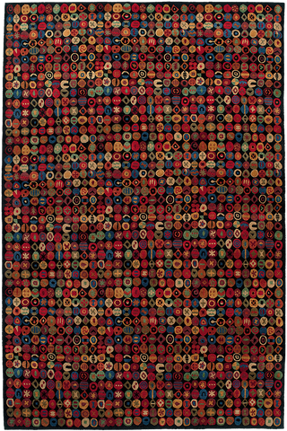 Plush contemporary Tibetan area rug with colorful repeating circular patterns on a black background.
