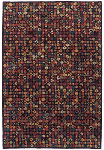 Bottlecaps eggplant - contemporary patterned area rug with colorful round shapes on an eggplant colored background