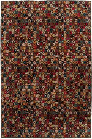 Bottlecaps putty - modern tibetan carpet with bottle cap shaped repeating circular pattern on a putty colored background