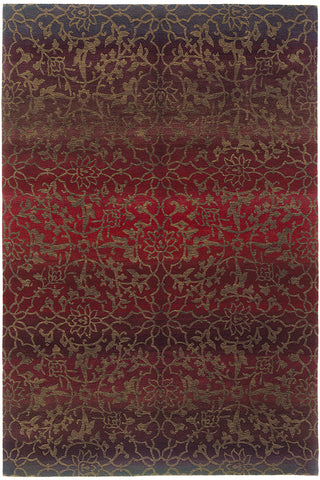 Divine Red - a gold-yellow flower like pattern subtly overlaid over soothing tonal gradations of red