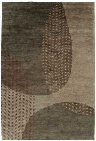 Ellipse - Modern and beautiful Tibetan-weave area rug with large solid color ellipses and ellipses made up of dots