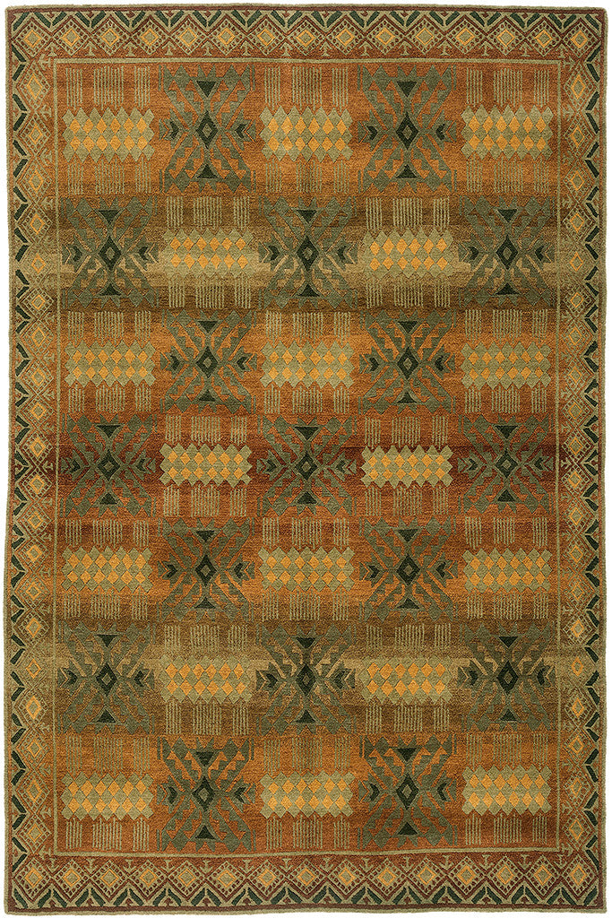 Inca Gold   Contemporary Geometric Design Area Rug With Warm Colors Offset  By Greens, Handmade